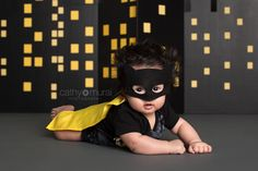 Baby Batman (Superhero) with Wild Hair – 100 Day Celebration | 3 months old baby boy wearing a batman costume | Baby Photographer | Baby Photography