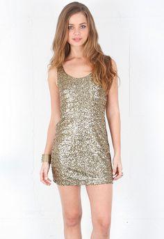 Style Stalker Gold Finger Sequin Tank Dress $220