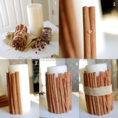 Cinnamon Stick Candle TUTORIAL- cool centerpiece for the right event. Best Candles, Diy Candles, Scented Candles, Cute Crafts, Diy And Crafts, Holiday Crafts, Christmas Crafts, Candle Craft, Home Scents