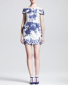 Love the t-straps with sock look. Ceramic Brocade Fold-Over-Shoulder Dress by Valentino.