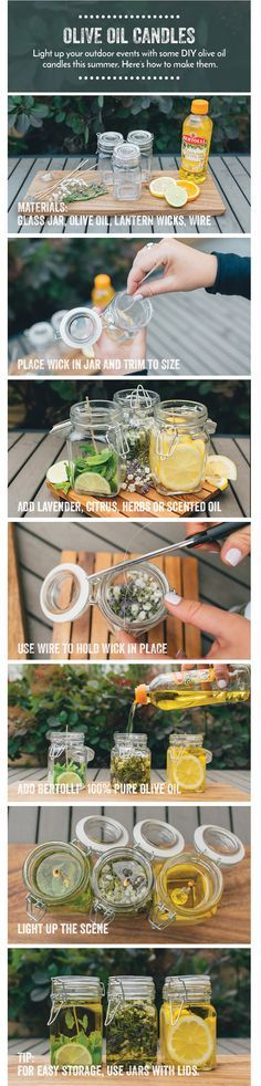 Light up your outdoor events with some DIY olive oil candles this summer! Here's how to make them!