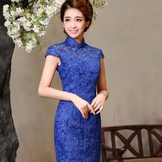 Shop elegant silk cheongsam, traditional Chinese red bridal dresses, sexy modernize Qipao from www.ModernQipao.com. Save 6% by share our products. Blue lace modern short qipao short Chinese cheongsam dress (four colors available)