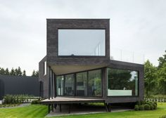 This office is raised on angled stilts to protect it from flooding
