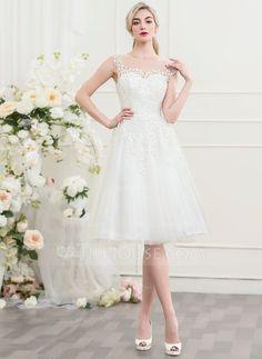 [US$ 149.99] A-Line/Princess Scoop Neck Knee-Length Tulle Wedding Dress (002107546)