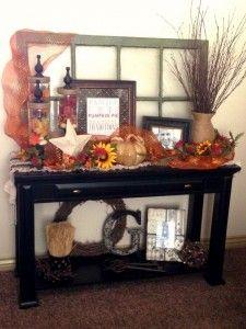 Beautiful fall entrance table decor