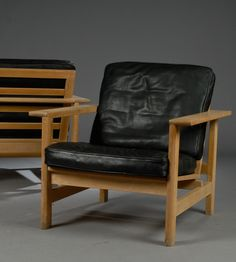 Søren Holst; Oak and Leather Lounge Chairs  for Fredericia, 1984.