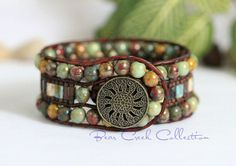 Earthy Beaded Leather Cuff, 3 Row, Beaded Leather Cuff, Brown leather, Colorful, Boho Hippie Wrap Bracelet, Tila Cuff Bracelet