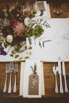 Lovely Beautiful Table Scape Rustic Wedding Setup With White Table Runner, Wood Rectangular  Tables And Silverware