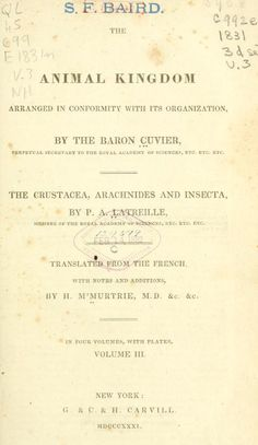 Volume 3 - The animal kingdom arranged in conformity with its organization (1831)