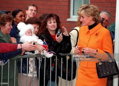Princess Diana (1961 - 1997) meeting the public after a visit to the Liverpool Women's Hospital, November 1995.