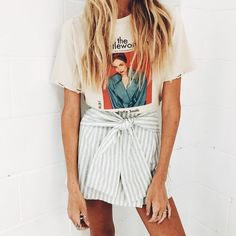 #style style inspiration, summer style, spring style, paper bag shorts, tied shorts, striped shorts, spring outfit, summer outfit, outfit idea