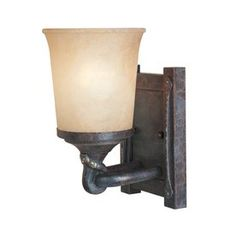 $65.50 Designer's Fountain Austin 5.5-in W 1-Light Weathered Saddle Arm   Wall Sconce
