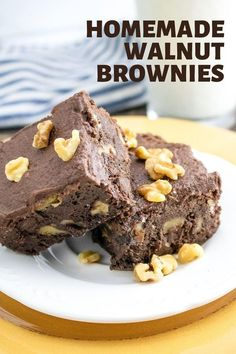 Learn how to make the best fudgy walnut brownies from scratch. This easy homemade recipe uses cocoa powder, chocolate chips and butter (not oil) for chewy, gooey brownies that are way better than from a box mix. These brownies are topped with a simple and tasty chocolate buttercream frosting. Brownie Frosting, Chocolate Frosting, Chocolate Desserts, Buttercream Frosting, Chocolate Chips, Easy Homemade Recipes, Homemade Desserts, Sweet Recipes, Delicious Desserts