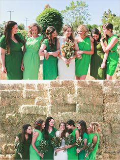 We will look something like this, but even cuter - green bridesmaid dresses Bridesmaids And Groomsmen, Wedding Bridesmaids, Green Bridesmaids, Bridesmaid Inspiration, Wedding Inspiration, Style Inspiration, Cute Wedding Ideas, Wedding Styles, Wedding Photos