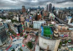 Tokyo from the Air. Wow this city is amazing. I have to go back soon! I found one of the tallest buildings and scooted my way around inside until I found an elevator to the top. On the way up, I was lucky to be on a glass elevator. I was as shocked as you when I saw that soccer field on top of a building! How cool! I'd love to get up there and play around with those guys. - Trey Ratcliff