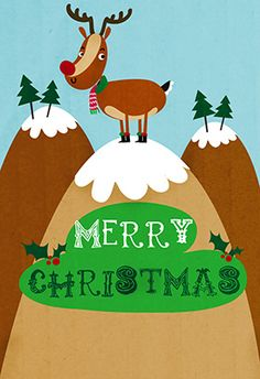 """Reindeer"" printable card. Customize, add text and photos. print for free! #Christmas #Card"