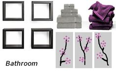 Half Bathroom colors- downstairs.  Gray or light tan color on the walls. Incorporate the purple-pink tones into the decor (towels, pictures, etc.).