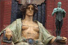 Stanislav Sucharda - sculpture in the entrance of the museum in Hradec Králové, Czechia Les Oeuvres, Sculpture Art, 19th Century, Art Nouveau, Entrance, Museum, Places, Entryway, Doorway