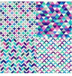Seamless colorful geometric pattern vector art - Download Green ...