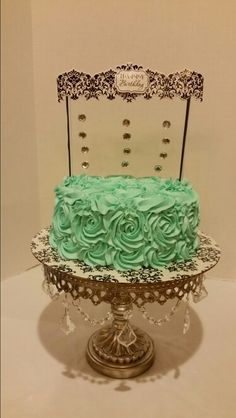 Rose Teal Birthday Cake