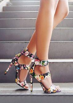 Hothouse Black Floral Print Dress Sandals - Trendslove