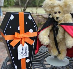 Prince Levka Vampire Bear had to show off his coffin for Halloween. He doesn't sleep in it. It's just a conversation starter. :)