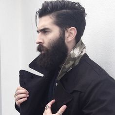 Chris John Millington - full thick dark beard and mustache beards bearded man men mens' style fall winter fashion clothing dapper suspenders good hair hairstyle cut barber bearding #beardsforever
