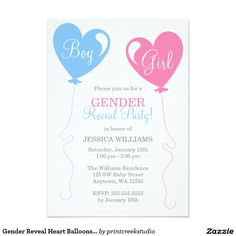 Gender Reveal Heart Balloons Pink Blue Ivory 5x7 Paper Invitation Card