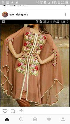 Pakistani cape embroridery dress with pencil pant Pakistan Fashion, India Fashion, Fashion Wear, Fashion Dresses, Stylish Dresses, Casual Dresses For Women, Clothes For Women, Pakistani Outfits, Indian Outfits