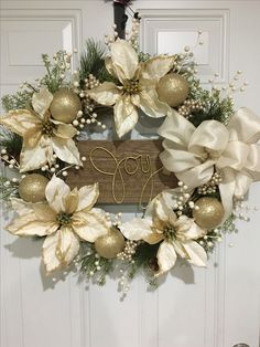 Holiday wreaths, Christmas wreaths, Christmas decor, holiday decoration, winter, gold decorations, gold wreath, Joy Christmas Tree Crafts, Outdoor Christmas Decorations, Handmade Christmas, Holiday Crafts, Gold Decorations, Holiday Decor, Silver Christmas, Christmas Door, Christmas Holidays