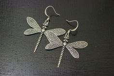 Silver dragonfly earrings by WoodWren on Etsy