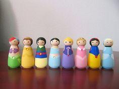 Princess Peg People - Set of 8 Wooden Hand Painted - 2 via Etsy