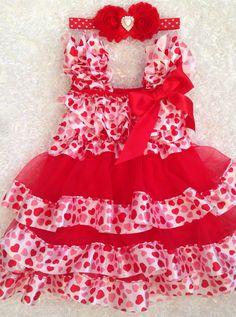 Valentine Heart Dress/ First Valentine's Day/ Chiffon and satin Heart petti dress/Pageant/ Birthday/ Photoprop