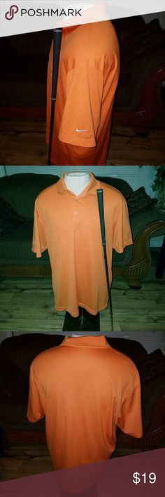 Men's Nike Dri-Fit Golf Shirt Sz XL This shirt is in excellent used condition. Only worn a couple of times. Has the Nike emblem on one sleeve and a tournament name on the other sleeve. It is the Nike Dri-FIT and it is bright orange. Comes from a pet and smoke-free home. Nike Dri-Fit Shirts Polos