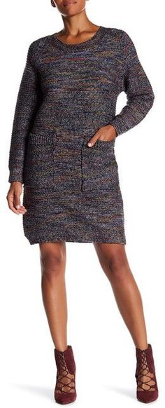 Bacci Rodeo Striped Marled Knit Pocket Front Sweater Dress