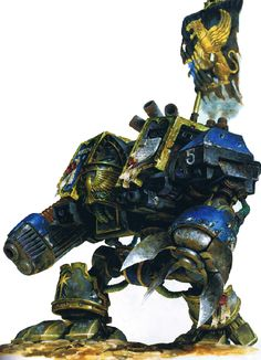 Astral Claws Venerable Dreadnought - The Astral Claws were a Space Marine Chapter who turned Renegade in M41. Their survivors exist as the Red Corsairs, and their Chapter Master, Lufgt Huron, is now the infamous pirate lord Huron Blackheart.