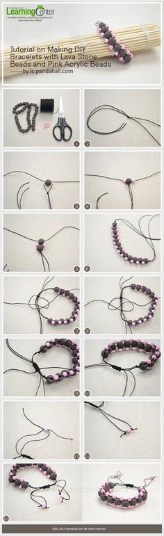 Tutorial on Making DIY Bracelets with Lava Stone Beads and Pink Acrylic Beads