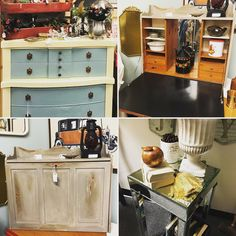Furniture upcycled with Annie Sloan Chalk Paint® (dresser in cream and duck egg, cabinet in French linen) Chalk Paint Dresser, Annie Sloan Chalk Paint, Kitchen Cart, Upcycle, Egg, French, Cabinet, Cream, Antiques