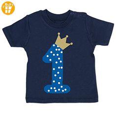 Geburtstag Baby - 1. Geburtstag Krone Junge Erster - 12-18 Monate - Navy Blau - BZ02 - Kurzarm Baby-Shirt für Jungen und Mädchen - T-Shirts mit Spruch   Lustige und coole T-Shirts   Funny T-Shirts (*Partner-Link)