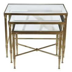 Hollywood Regency Brass Italian Nesting Tables with Mirrored Glass Top