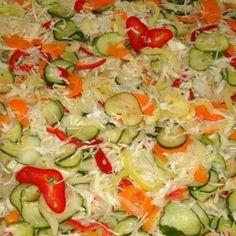 Csilicsalamádé Croatian Recipes, Hungarian Recipes, Cold Vegetable Salads, Gyro Pita, Food For Thought, No Bake Cake, Salad Recipes, Food To Make, Food And Drink