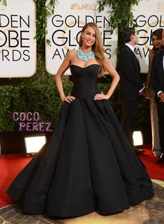 Sofia Vergara in a sparkling black Zac Posen gown and Brian Atwood heels at the 2014 Golden Globes
