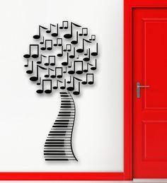 Parete Sticker Decal astratto albero spartiti vinile arredamento della camera (ig1992)