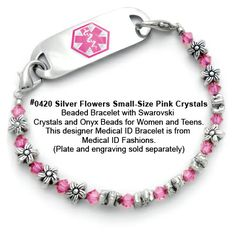 Medical Id Bracelet 0420 Silver Flowers Small Size Pink Crystals From Fashions And