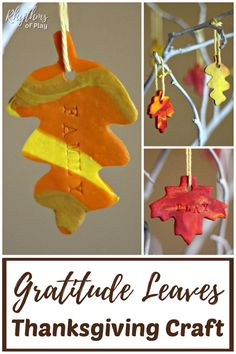 Gratitude Leaves Thanksgiving Craft - Creating these hand-stamped, marbled clay, autumn leaves, is an activity that kids and adults can enjoy together. Hang these from a decorative tree and you'll have a beautiful piece of Thanksgiving home decor. Thanksgiving Crafts For Kids, Thanksgiving Activities, Autumn Activities, Easy Crafts For Kids, Thanksgiving Decorations, Craft Activities, Projects For Kids, Fun Crafts, Diy And Crafts