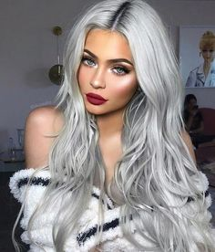 Fantastic Photo silver Hair Makeup Style Dyeing your own hair can occasionally . Fantastic Photo silver Hair Makeup Style Dyeing your own hair can occasionally . Long Silver Hair, Silver Blonde Hair, Silver Hair Colors, Purple Hair, Silver Nails, Grey Blonde Hair Dye, Long Grey Hair, Silver Hair Girl, Silver Platinum Hair