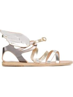 Ancient Greek Sandals Wing Detail 'nephele' Sandals In Metallic Grey Sandals, Socks And Sandals, Grey Shoes, Leather Sandals, Shoes Sandals, Metallic Leather, Grey Leather, Wing Shoes, Metallic Sandals