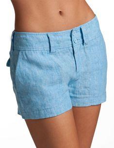 Poseidon Blue Short Shorts - Womens Blue Linen Shorts |Island Company
