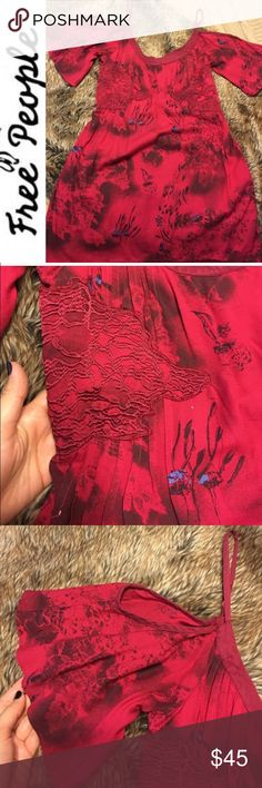 Free People Dress Tunic Cold Shoulder Cold shoulder red free People Tunic or dress, perfect condition Free People Dresses
