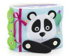 Quiet book light blue educational toy toddler baby developmental eco friendly panda 12 pages by MiniMom's